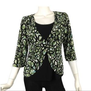 AB Studio Black Green Retro Circle Top M Wrap